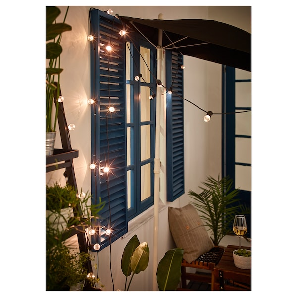 UTSUND LED lighting chain with 12 lights, outdoor/battery-operated black