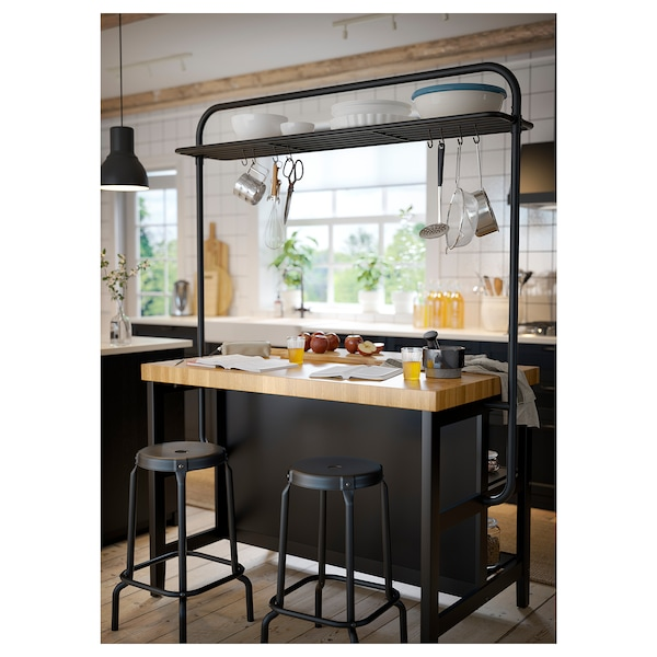 Vadholma Rack For Kitchen Island Black Ikea