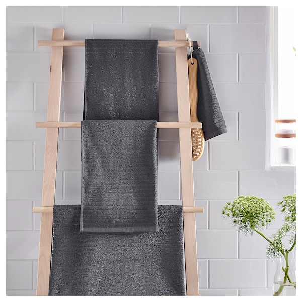 VÅGSJÖN bath towel dark grey 140 cm 70 cm 0.98 m² 400 g/m²