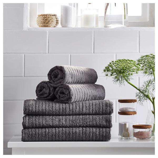 VÅGSJÖN Hand towel, dark grey, 50x100 cm