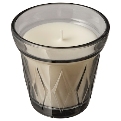 VÄLDOFT Scented candle in glass, Salty sweets/grey, 8 cm