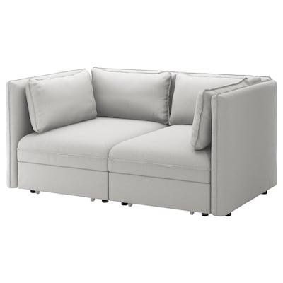 VALLENTUNA 2-seat modular sofa w 2 sofa-beds, Orrsta light grey