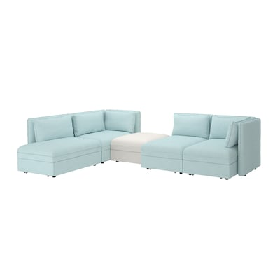 VALLENTUNA 4-seat modular sofa w 3 sofa-beds and storage/Hillared/Murum light blue/white 84 cm 93 cm 113 cm 346 cm 213 cm 80 cm 100 cm 45 cm 160 cm 200 cm