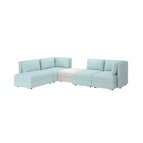 Brilliant Vallentuna 4 Seat Modular Sofa W 3 Sofa Beds And Storage Hillared Murum Light Blue White Frankydiablos Diy Chair Ideas Frankydiabloscom
