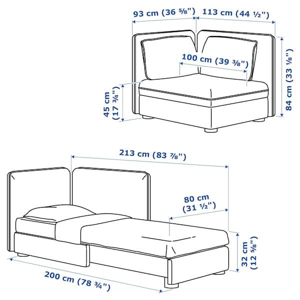 VALLENTUNA Sofa-bed module with backrests, Murum black