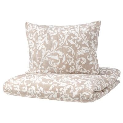VÅRBRÄCKA Duvet cover and 2 pillowcases, beige/white, 200x200/60x70 cm