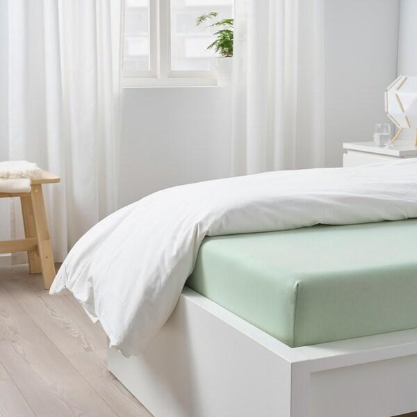 VÅRVIAL Fitted sheet, light green, 90x200 cm