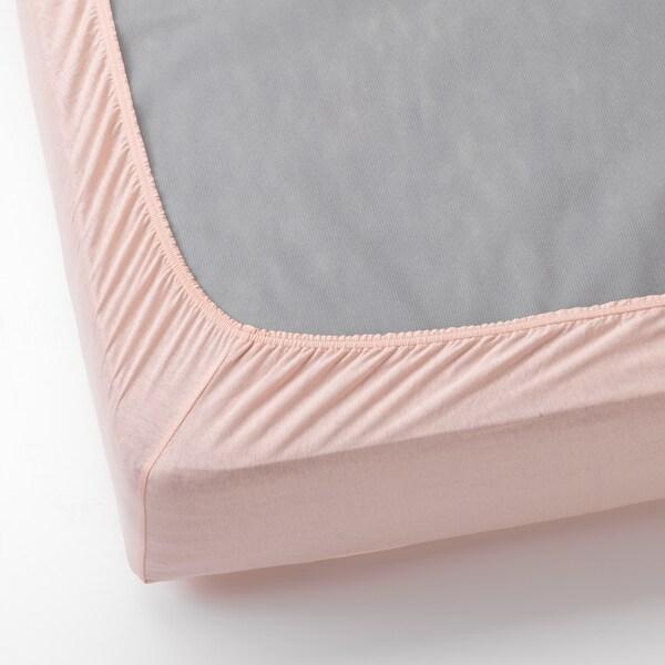 VÅRVIAL Fitted sheet, light pink, 90x200 cm