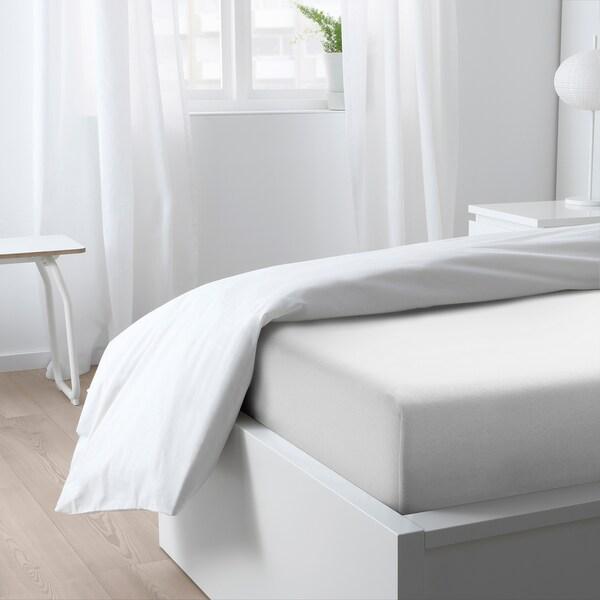 VÅRVIAL Fitted sheet, white, 90x200 cm