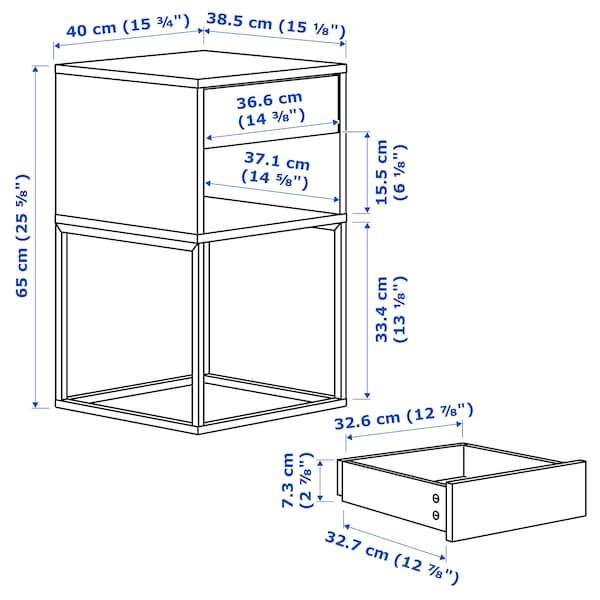 VIKHAMMER Bedside table, black, 40x39 cm