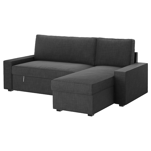 VILASUND Sofa bed with chaise longue, Hillared anthracite