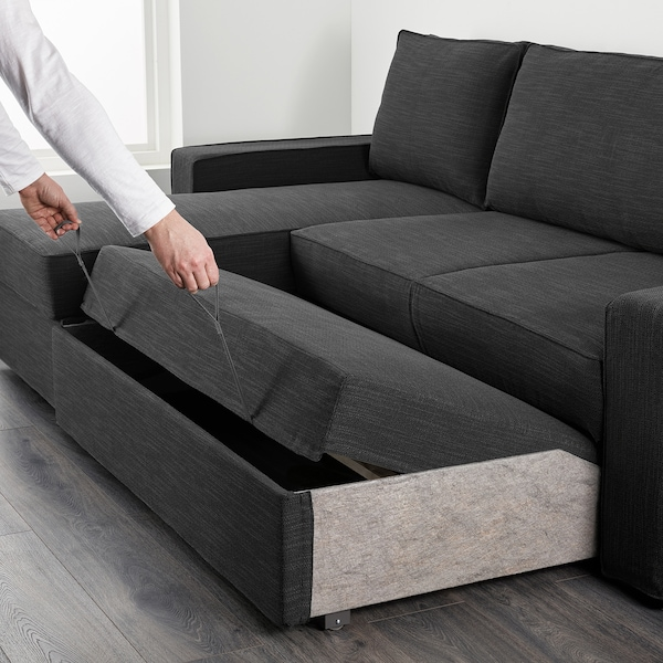 Divano Chaise Longue Ikea.Vilasund Sofa Bed With Chaise Longue Hillared Anthracite Ikea