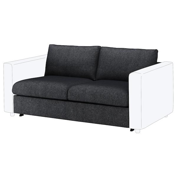VIMLE 2-seat sofa-bed section Tallmyra black/grey 53 cm 83 cm 68 cm 160 cm 98 cm 241 cm 55 cm 48 cm 140 cm 200 cm 12 cm