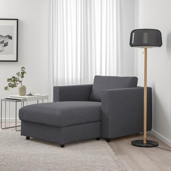 VIMLE Chaise longue, Gunnared medium grey