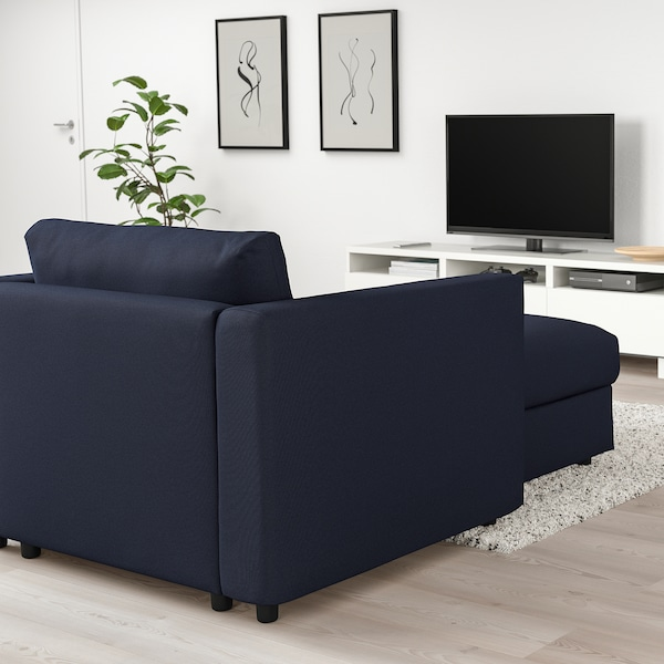VIMLE Chaise longue, Orrsta black-blue