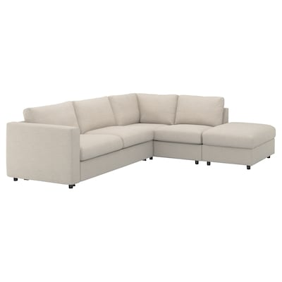 VIMLE Corner sofa-bed, 4-seat, with open end/Gunnared beige
