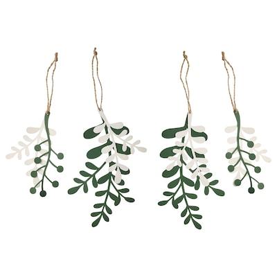 VINTER 2021 Hanging decoration, set of 4, mistletoe white/green