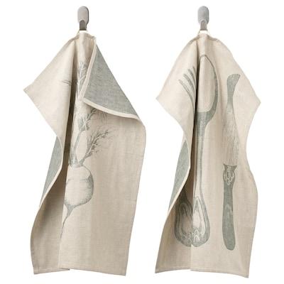 VITNOPPA Tea towel, patterned/green, 45x60 cm