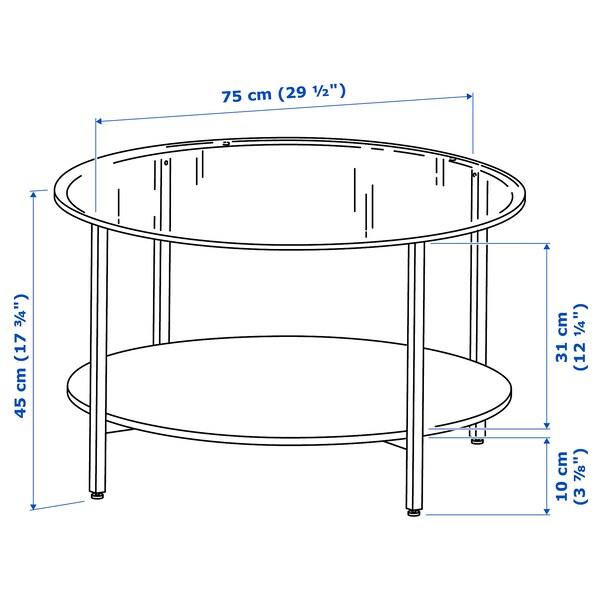 VITTSJÖ Coffee table, black-brown/glass, 75 cm
