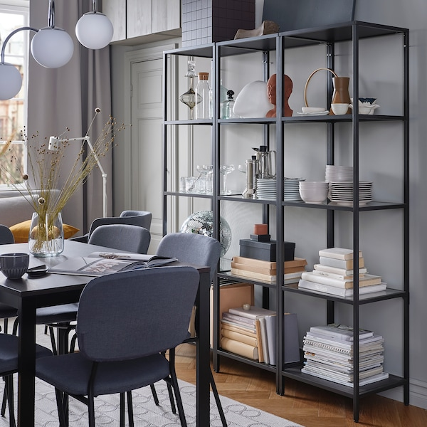 VITTSJÖ Shelving unit, black-brown/glass, 51x175 cm