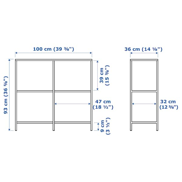 VITTSJÖ Shelving unit, white/glass, 100x93 cm