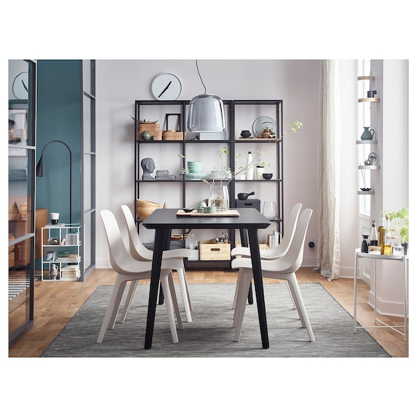 VITTSJÖ Storage combination, black-brown/glass, 151x36x175 cm