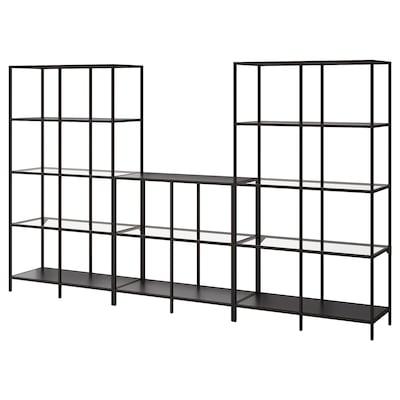 VITTSJÖ Storage combination, black-brown/glass, 300x36x175 cm