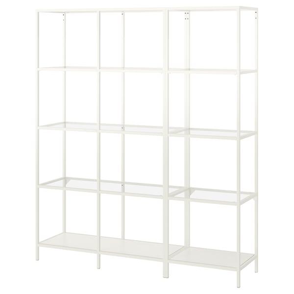 VITTSJÖ Storage combination, white/glass, 151x36x175 cm