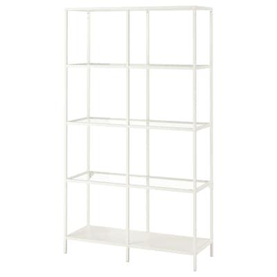 VITTSJÖ shelving unit white/glass 100 cm 36 cm 175 cm 15 kg