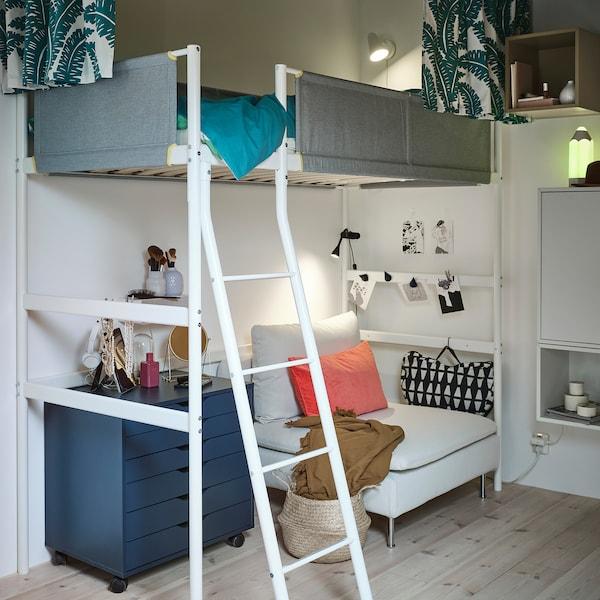 VITVAL Loft bed frame, white/light grey, 90x200 cm
