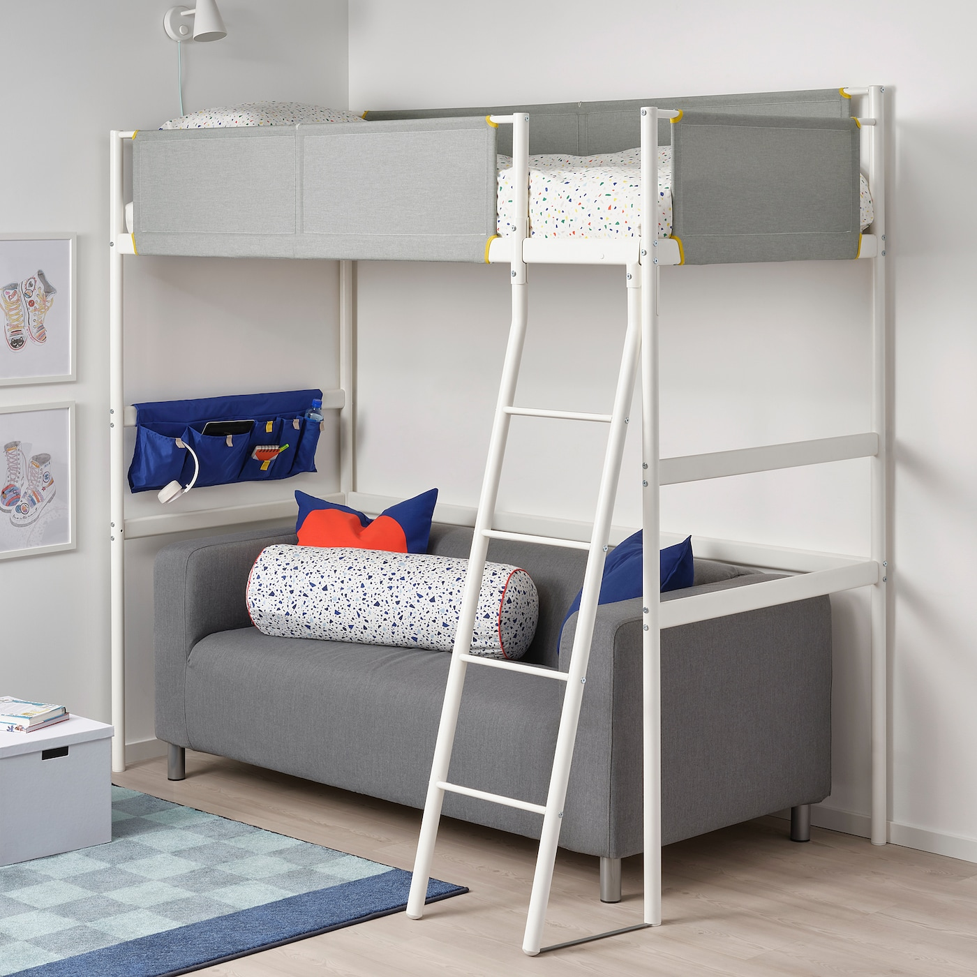 VITVAL loft bed frame white/light grey 135 cm 207 cm 97 cm 195 cm 150 cm 100 kg 200 cm 90 cm 13 cm