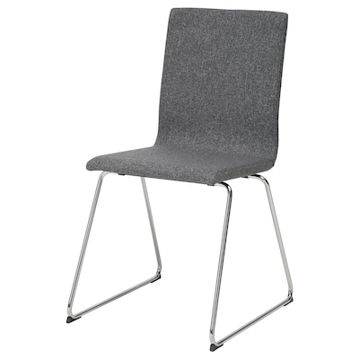 VOLFGANG Chair, chrome-plated/Gunnared dark grey