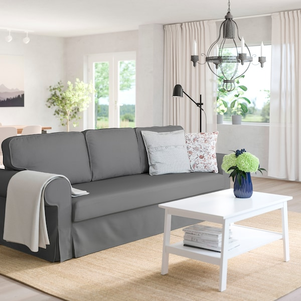 VRETSTORP 3-seat sofa-bed, Remmarn light grey