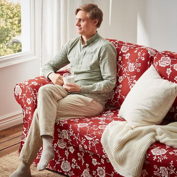 VRETSTORP 3-seat sofa-bed, Virestad red/white