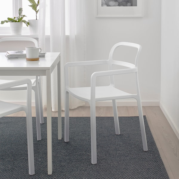 YPPERLIG chair with armrests, in/outdoor light grey 100 kg 55 cm 51 cm 83 cm 42 cm 43 cm 46 cm