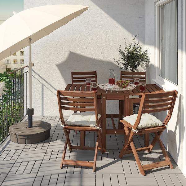 ÄPPLARÖ tafel+4 klapstoelen, buiten bruin gelazuurd/Kuddarna beige