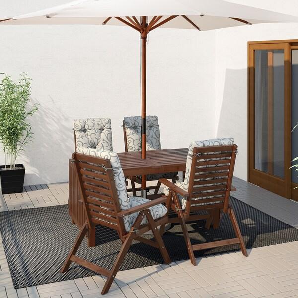 ÄPPLARÖ tafel+4 tuinstoelen, buiten bruin gelazuurd