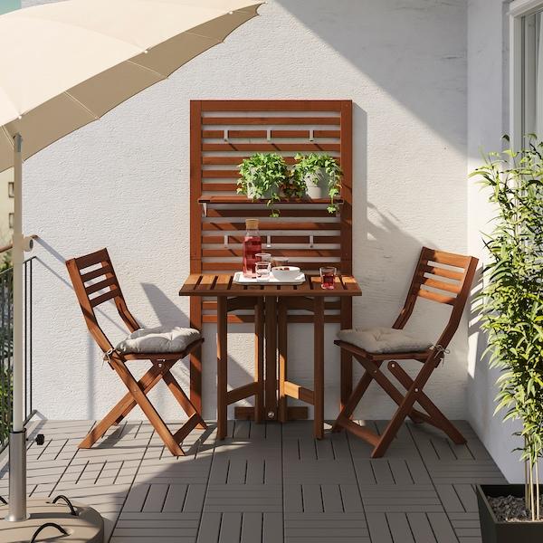 ÄPPLARÖ wandpaneel+klaptafel+2 klapstoelen bruin gelazuurd/Kuddarna grijs