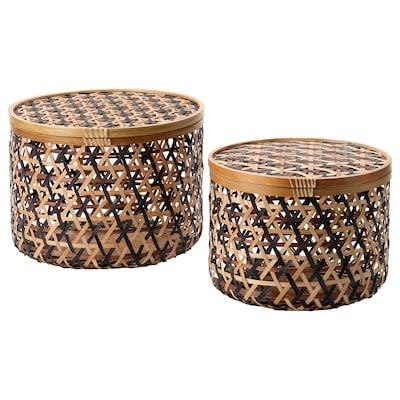 ANILINARE Opbergbak met deksel, set van 2, bamboe zwart/bruin