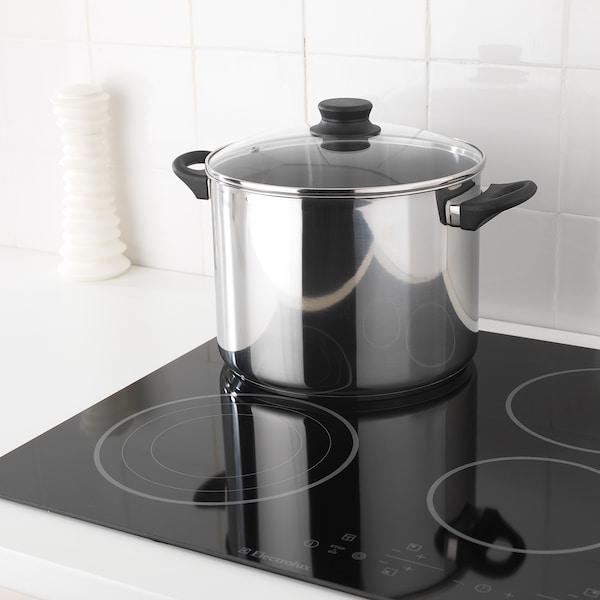 ANNONS Pan met deksel, glas/roestvrij staal, 10 l