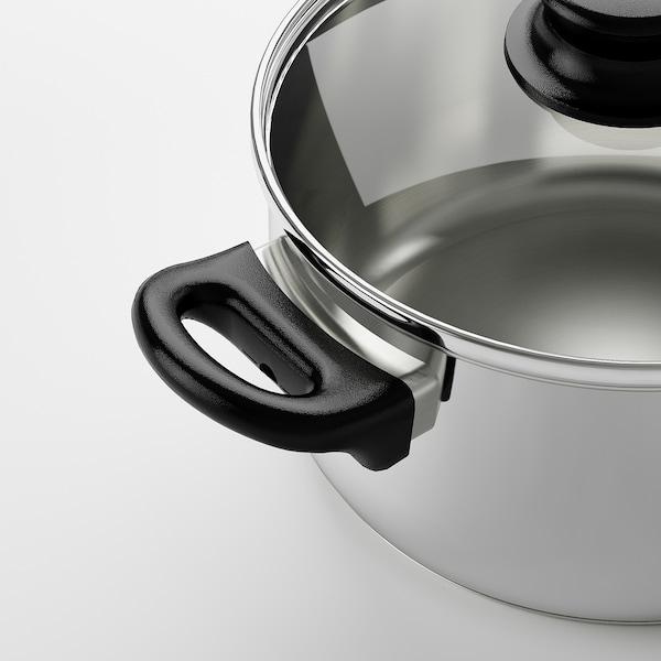 ANNONS Pan met deksel, glas/roestvrij staal, 2.8 l
