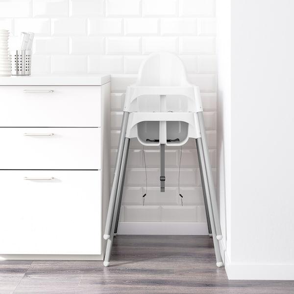 ANTILOP Hoge kinderstoel met blad, wit/zilverkleur