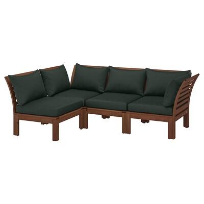 ÄPPLARÖ Modulaire hoekbank, 3-zits, buiten, bruin gelazuurd/Hållö zwart, 143/223x80x78 cm