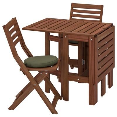 ÄPPLARÖ Tafel+2 klapstoelen, buiten, bruin gelazuurd/Frösön/Duvholmen donkerbeige-groen