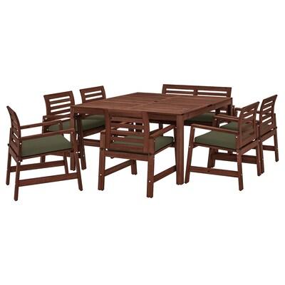 ÄPPLARÖ Tafel+6 leunstoelen+bank, buiten, bruin gelazuurd/Frösön/Duvholmen donkerbeige-groen