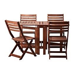 Tuinset tafel +4 klapstoelen, ÄPPLARÖ, bruin gelazuurd