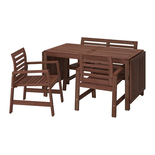 Houten Tuinstoelen Ikea.Applaro Tafel 2 Tuinstoelen Bank Buiten Bruin Bruin Gelazuurd