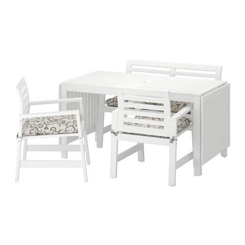 u00c4PPLAR u00d6 Tafel+2 tuinstoelen+bank, buiten    u00c4pplar u00f6 wit  Steg u00f6n beige   IKEA