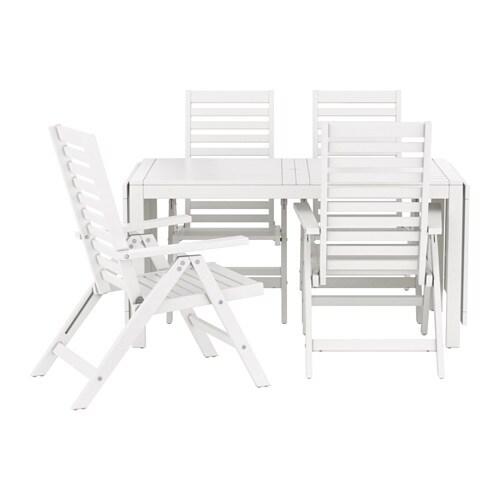 u00c4PPLAR u00d6 Tafel+4 tuinstoelen, buiten   wit   IKEA