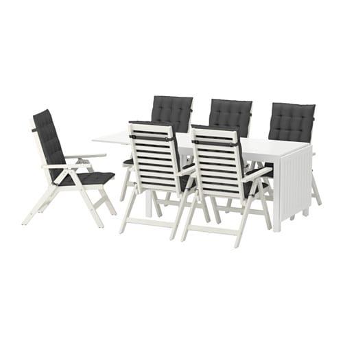 u00c4PPLAR u00d6 Tafel+6 tuinstoelen, buiten    u00c4pplar u00f6 wit  H u00e5ll u00f6 zwart   IKEA